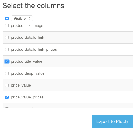 Select columns to export