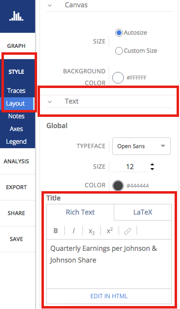 Type in layout panel